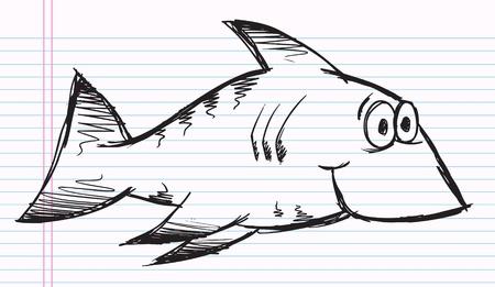 notebook: Notebook Doodle Sketch Cute Happy Shark Vector Illustration