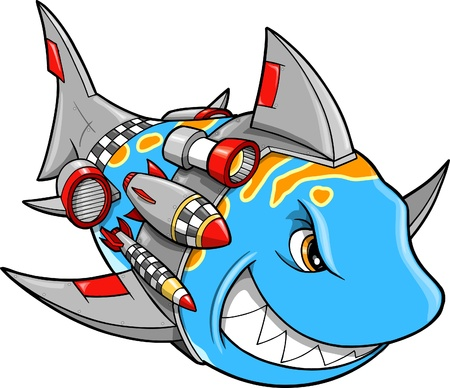bomb: Mean Metal Armed Robot Cyborg Shark Illustration
