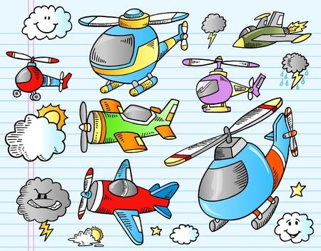 jet fighter: Notebook Aircraft Weather Doodle Sketch Illustration Set