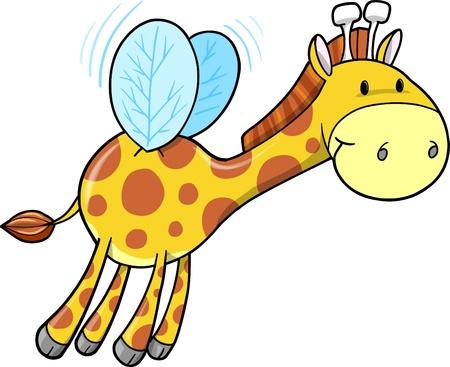 Cute Safari Bumble Bee Giraffe Illustration