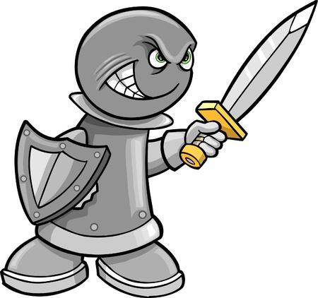 Cyborg zautomatyzowanej Warrior szachista Rook ilustracji  Ilustracje wektorowe