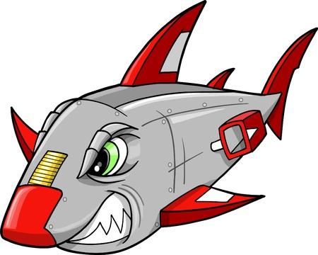 Mean Metal Armed Robot Cyborg Shark Illustration