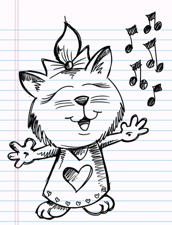 Sketchy doodle Singer Music Cat Vector Illustration