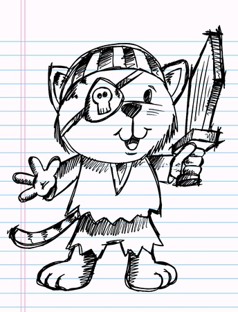 Notebook Sketchy doodle Cat Pirate Vector Illustration
