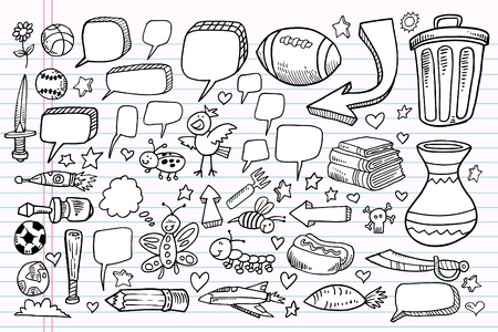 notebook: Notebook Doodle Sketch Speech Bubble Design Sports Elements