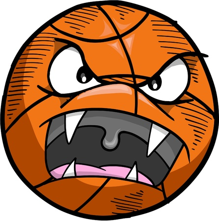 Crazy Mad Insane Basketball Vector Illustration