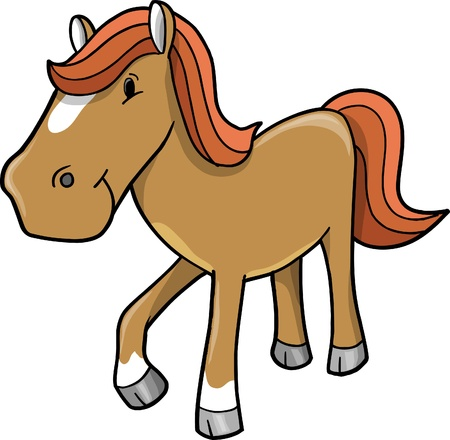 ponies: Cute Horse Pony Vector illustration  Illustration