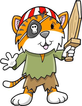 Cute Pirate Tiger Kitten Cub Vector Illustration  Illusztráció
