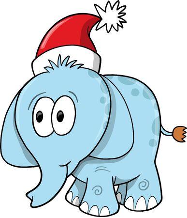 Cute Christmas Holiday Safari Elephant Vector Kunst Illustratie