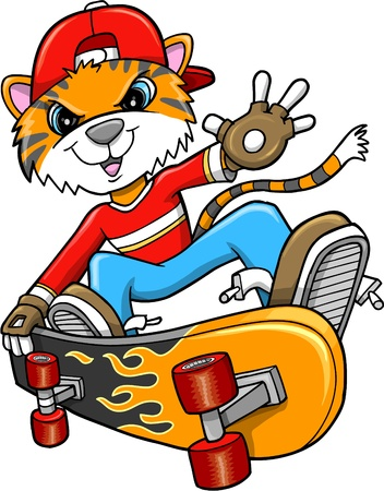 skateboarder: Safari Tiger Skateboarder Art Illustration