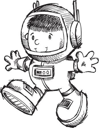 かわいい宇宙飛行士ボット スケッチ落書きアートの図  イラスト・ベクター素材