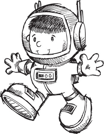 Cute Astronaut Bot Sketch Doodle Art Illustration