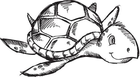かわいいスケッチ落書き図面海カメ アート イラスト