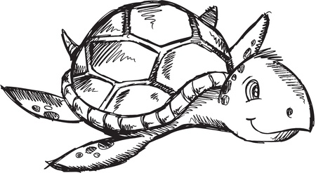 Cute Sketch Doodle Drawing Sea Turtle Art Illustration  Vector