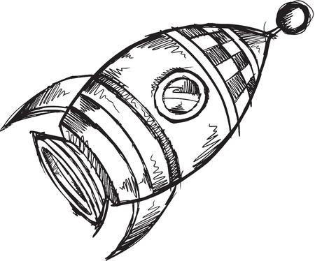 귀여운 공간 로켓 스케치 낙서 예술 일러스트 레이션