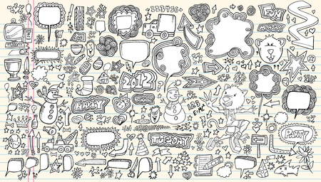 word balloon: Notebook Doodle Sketch Design Elements Mega Illustration Set  Illustration