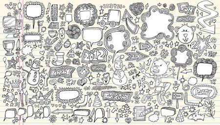 notebook computer: Notebook Doodle Sketch Design Elements Mega Illustration Set  Illustration