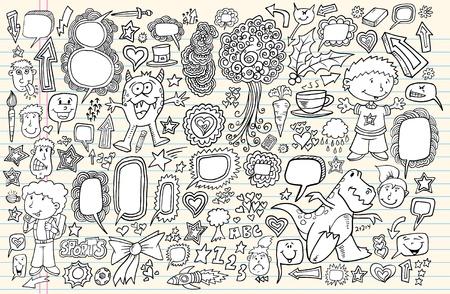 sketch: Notebook Doodle Sketch Design Elements Mega Illustration Set  Illustration