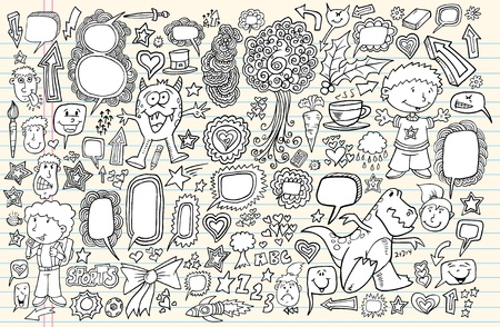 Notebook Doodle Sketch Design Elements Mega Illustration Set  Vettoriali