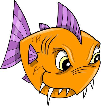 tough: Mean Orange Tough Fish Illustration