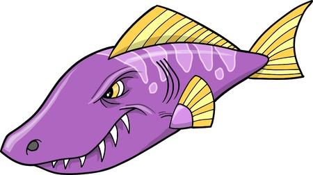 tough: Tough Mean Purple Fish Illustration  Illustration