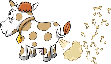 Farting Music Cow Illustration