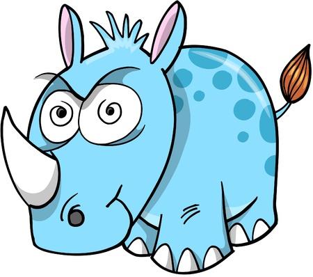 Crazy Insane Rhinoceros Illustration