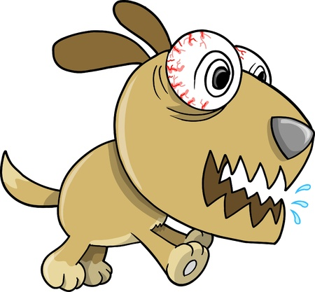 angry dog: Crazy Insane Puppy Dog Illustration