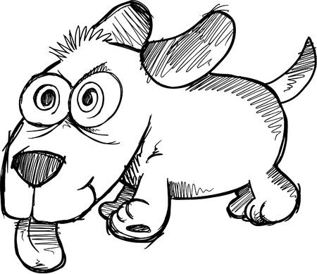 Doodle Sketch Crazy Wild Puppy Dog Stock Vector - 11546844