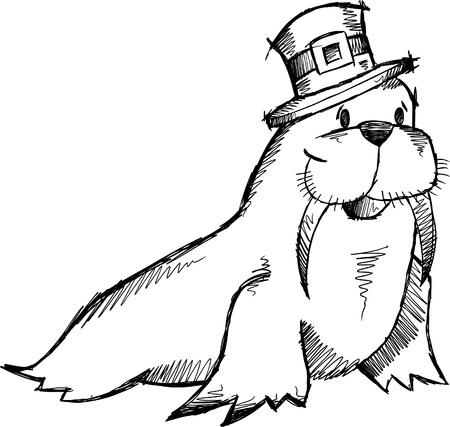 the walrus: Doodle Sketch Walrus Vector illustration
