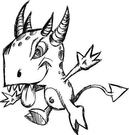 sketch: Crazy Insane Sketch Doodle Wild Monster Vector Illustration cartoon character