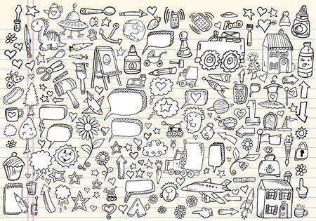 Mega doodle schets tekening vector element illustratie notebook set