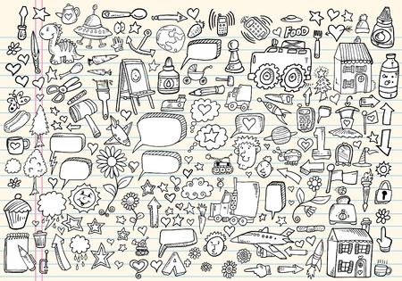 Mega doodle sketch drawing vector element illustration notebook set  Vector