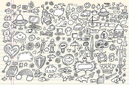 money cat: Dise�o port�til Doodle elementos de croquis Mega Ilustraci�n Vectorial Set