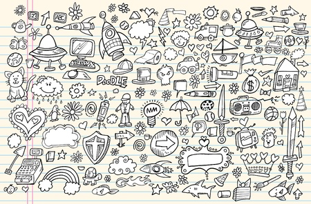 Notebook Doodle Sketch Design Elements Mega Vector Illustration Set  Vector
