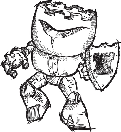 warriors: Doodle Sketch Cyborg Robot Chess Rook Warrior Art Drawing Illustration