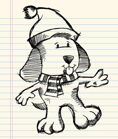 notebook: Notebook Doodle Sketch Puppy Dog Vector Holiday Christmas Illustration Art