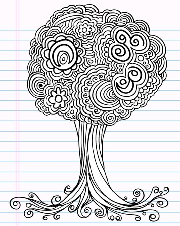 Notebook Doodle Sketch Henna Tree Tekenen Illustratie Art