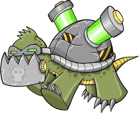 Crazy Cyborg Robot Warrior War Turtle Illustration art