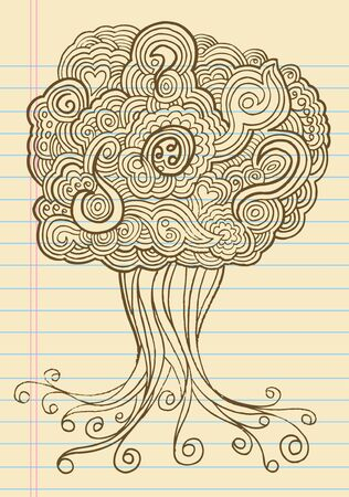 Notebook Doodle Sketch Henna Tree Drawing Illustration Art Stock Vector - 11546878