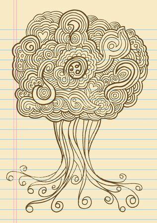 sketch: Notebook Doodle Sketch Henna Tree Drawing Illustration Art