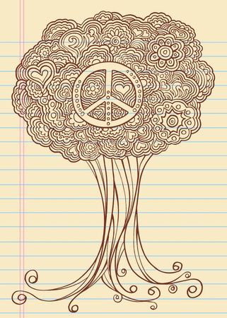 Notebook Doodle Sketch Henna Tree Drawing Illustration Art  Vector