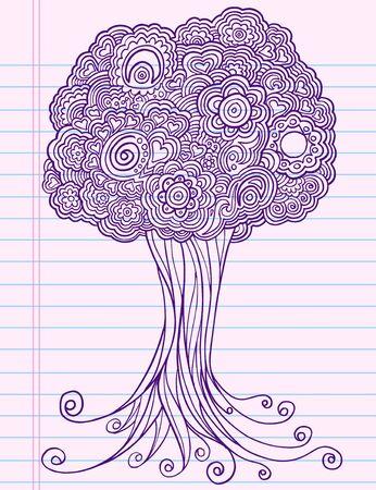 Notebook Doodle Sketch Henna Tree Drawing Illustration Art  Vector