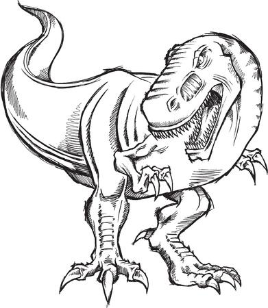 tyrannosaurus: Tyrannosaurus Dinosaur Sketch Doodle Illustration