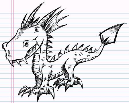 notebook: Notebook Doodle Sketch Dragon Art Illustration