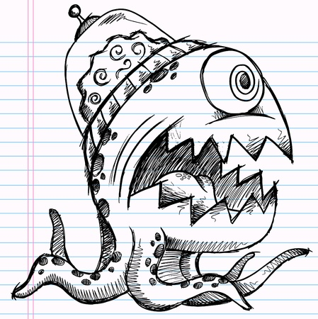 Notebook Doodle Sketch Alien Monster Drawing Illustration Art