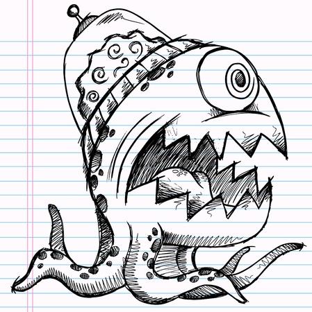 sketch: Notebook Doodle Sketch Alien Monster Drawing Illustration Art