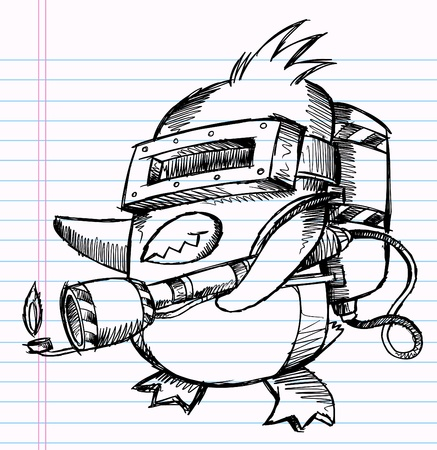 Notebook Sketch Doodle Penguin Commando Drawing Illustration Art