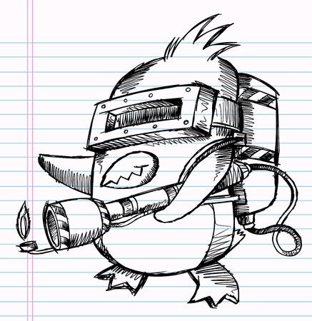 commando: Notebook Sketch Doodle Penguin Commando Drawing Illustration Art