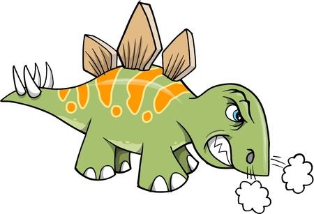stegosaurus: Mad estegosaurio Angry Ilustración Dinosaurio